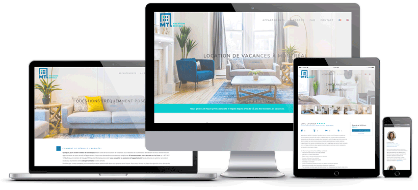 mockup du site web de MTL Vacation Rentals